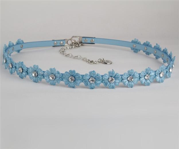 Women's diamond lace leather belt flower rhinestone belts YD067(China (Mainland))