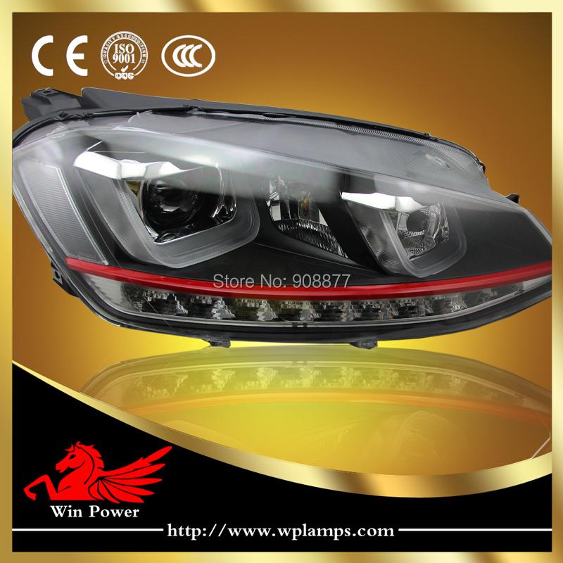 Upgrade LED headlight for VW Volkswagen golf MK7 GTI red line headlight LED DRL LED turn light for VW golf 7 GTI phare(China (Mainland))