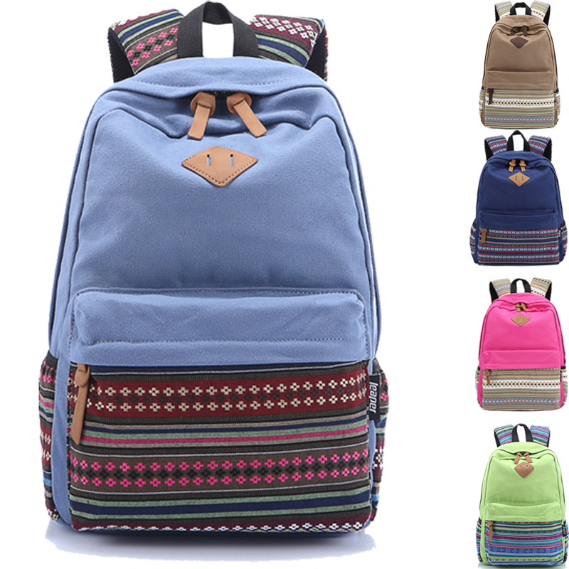 2015 Wholesale Teenager Girl Students Casual Daypacks Vintage Women Floral Canvas Backpack Female Travel School Back Bag(China (Mainland))