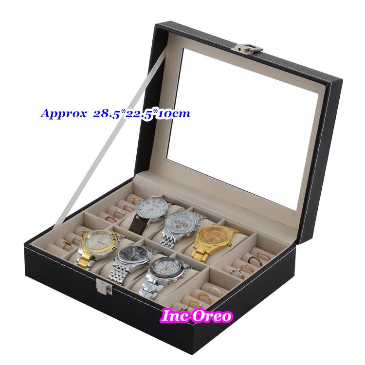 6 Slots Men Jewelry Black Watch & Ring Display Glass Top Storage Organizer Case Box Travel Gift - Oreo Inc store