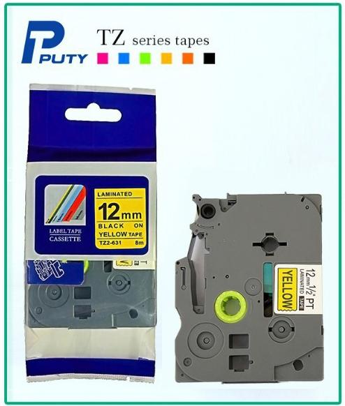 12mm TZ2-631 Black on Yellow Laminated printer ribbon free shipping<br><br>Aliexpress