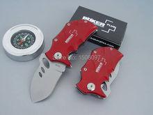 Envío gratis Mini Boker rinoceronte pequeño plegable rojo / azul / negro color cuchillo 55HRC acero inoxidable 440 cuchillos de caza que acampan