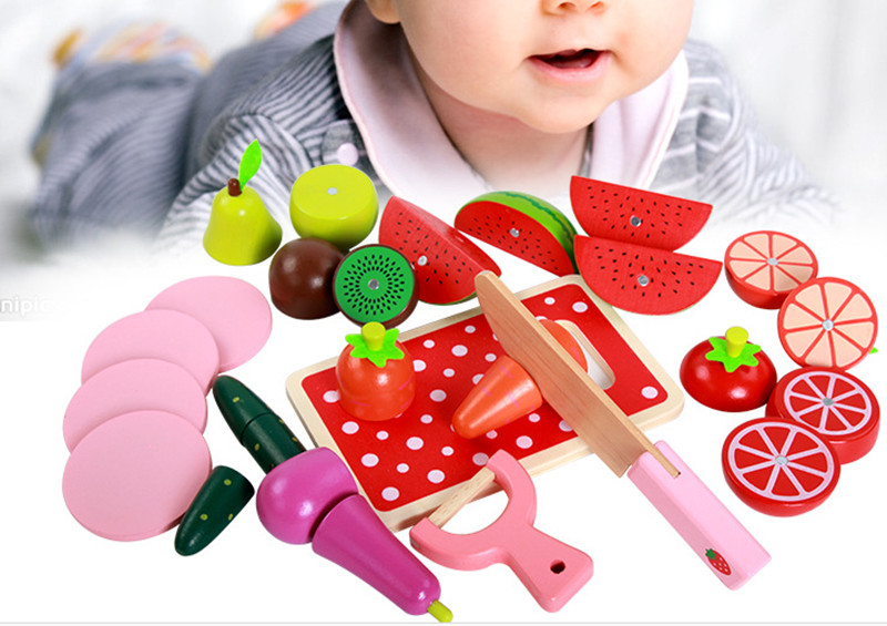 New wooden blocks  toy Kichen toy Cut Fruit game baby simulation toy baby education toy baby gift Free shipping<br><br>Aliexpress