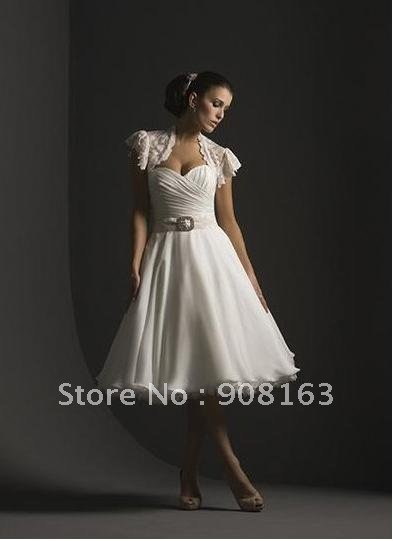 New Style ! 2012 Spring A Line Tippet Ruched Chiffon / Satin Tea-Length Sweetheart Beach Bridal Gown