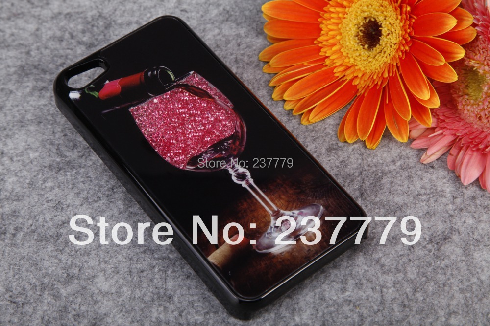 Bling beautiful Movable Crystal Case Hard Back Cover iPhone 5 5G 5S wine cup design - Franks' Store 237779 store