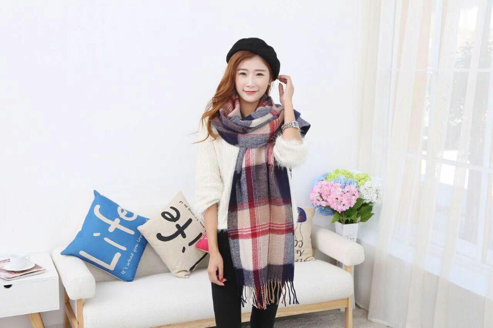 2016 New design Plaid Imitation cashmere Pashmina Oversized Fashion Lady Scarf Winter Warm Scarfs Poncho 10 colors 190*60CM