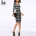 Hui Lin Plaid Round Neck Autumn Women Dress Casual Dress Three Quarter Sleeve Plus Size New