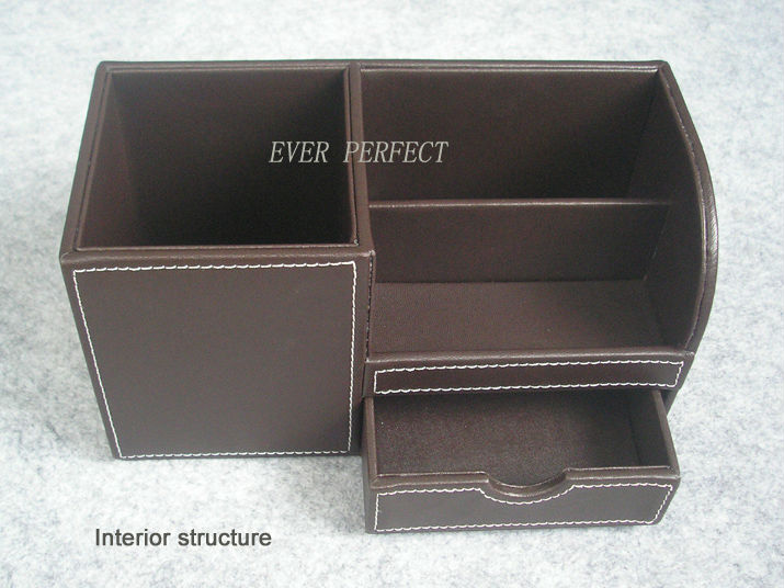 Wooden struction leather surface desk multifunction for Surface container