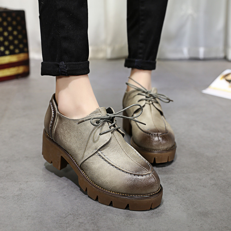 New Plus Size 35 39 Thick Heel High Heels Oxford Shoes For