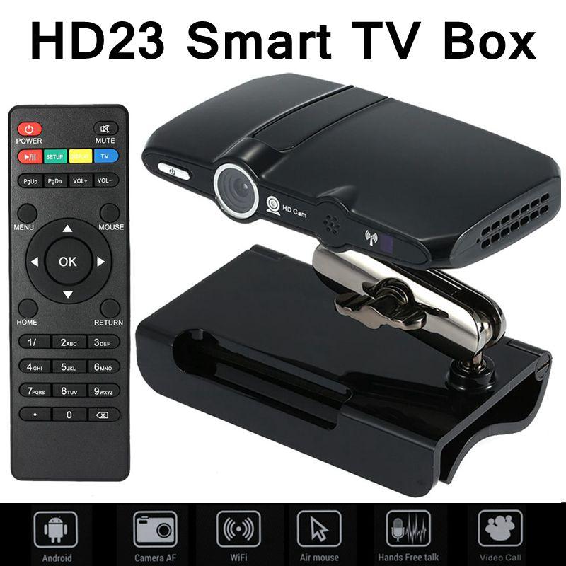 HD23 smart TV box 5.0MP and Mic Android TV camera HDMI 1080P 1GB/8GB android 4.4 skype Google Android TV box HD23 media player(China (Mainland))