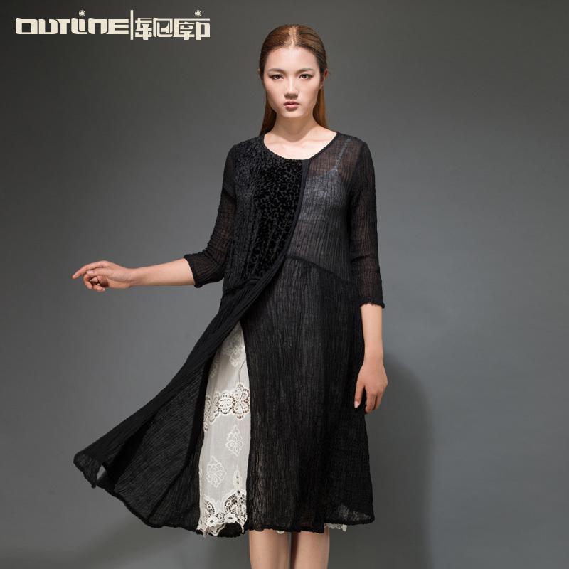 Outline Designer Women Long Linen Dress in Black Bohemian Plus Size Loose Dress in Original O-Neck Casual White Dresses L152Y015(China (Mainland))