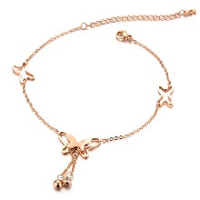 Fashion Women's Anklet Small Bells White Gold Plated 25cm Trendy Bohemia Link Chain