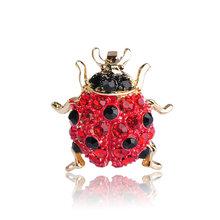 Blucome Kecil Penuh Kristal Merah Ladybug Bros untuk Anak Perempuan Kemeja Warna Emas Serangga Kumbang Bros Syal Korsase Aksesoris(China)