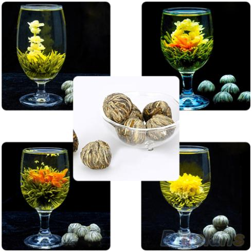 Гаджет  4 Balls Different Handmade Blooming Flower Green Tea Home Wedding Gift  1ON6 1ORU None Еда