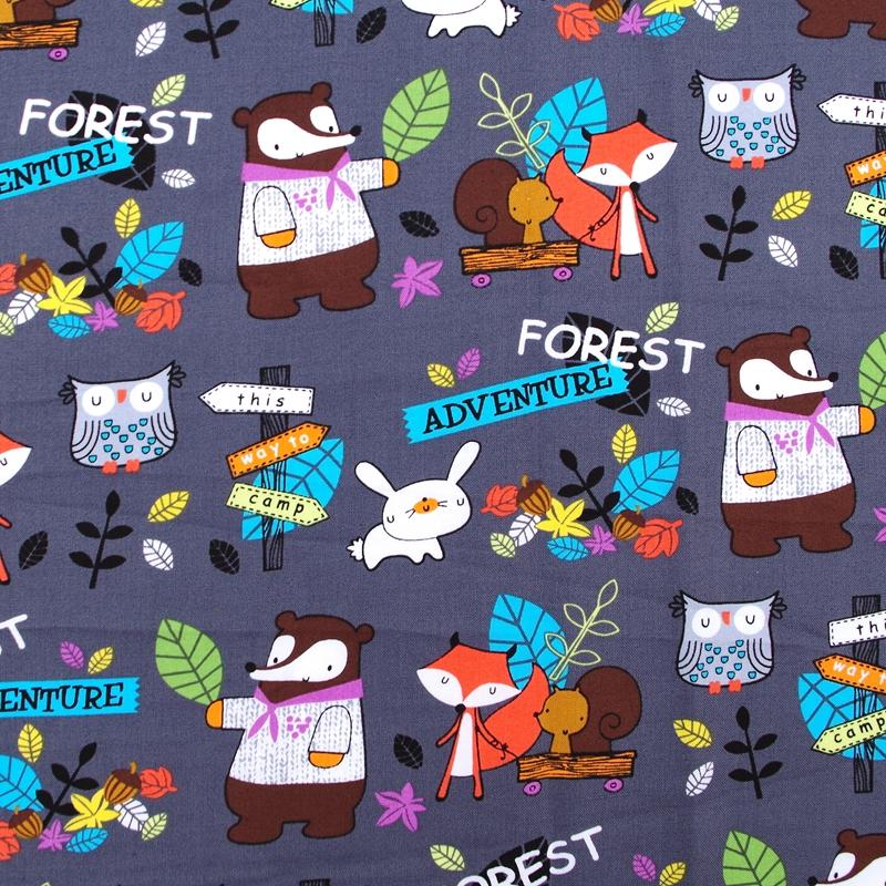 C216 - 1 ярд хлопчатобумажной ткани - мультфильм - лесные приключения оптово-сова, Rabbitand фокс ( ширина = 145 см )