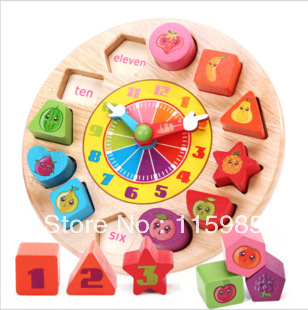 1 set retail clock Educational wooden toys baby kids blocks toys Early Learning shape kids toy Multifunction Free shipping