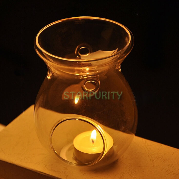 2in1 Glass Stand Hanging Candlestick Tealight Candle Holder Scented Oil Warmer Burner Stove Dinner Wedding Table Decoration(China (Mainland))