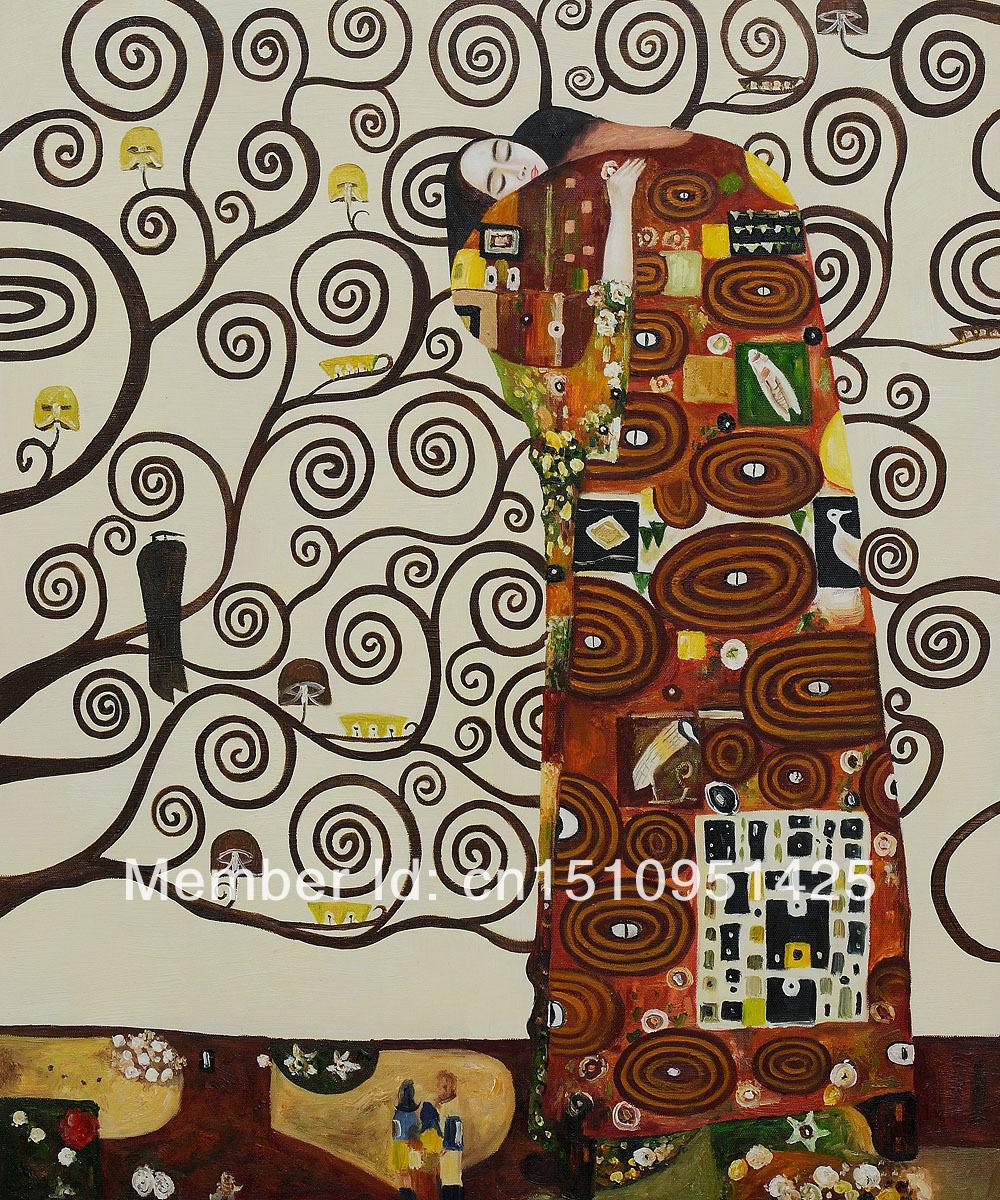 Fulfillment - The Embrace by Gustav Klimt - high quality oil paintings reproduction(China (Mainland))