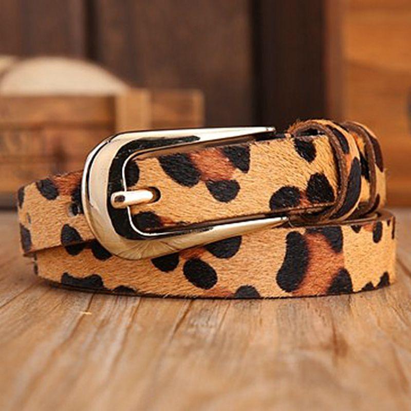 2016 brand new sexy leopard print narrow thin waist genuine leather belt fashion designer belts for women zebra strap jeans(China (Mainland))