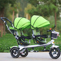 3 Wheel Twins Stroller Double Seat Tricycle Shockproof Baby Stroller 3 in 1 Portable Pram Twins