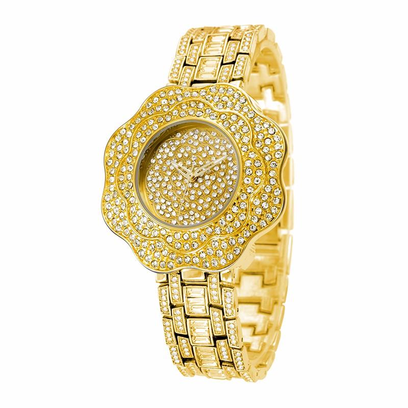 BELBI Марка Золото Кварцевые Часы Женщины Лучшие Роскошные Rhinestone Часы Цветок Циферблат Платье Наручные Часы ЯПОНИЯ Движение Relogio Feminino
