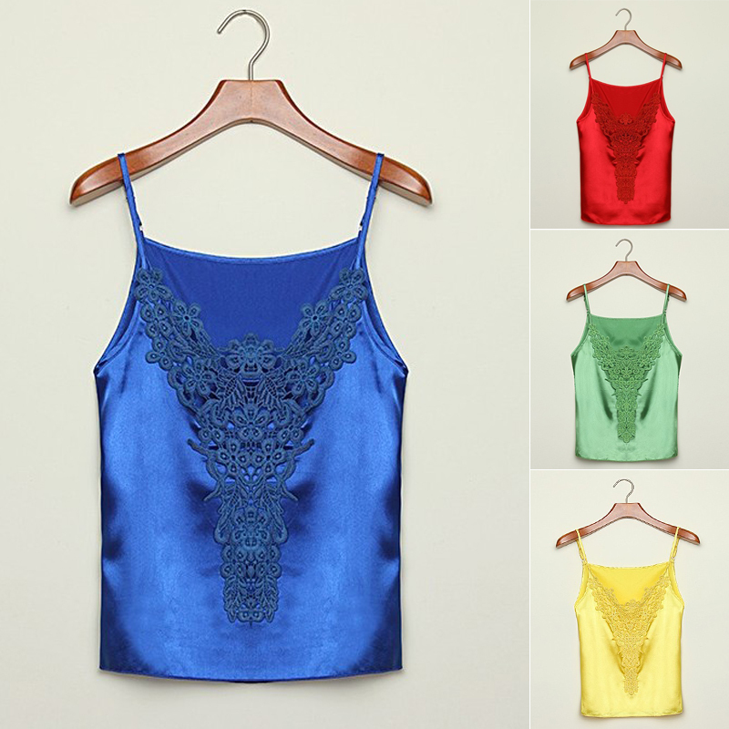 2015 Fashion Women Embroidery Lace Floral Camis Colorful Silk&Satin Camisole Ribbon Spaghetti Strap Vest Solid Color Tanks Tops(China (Mainland))