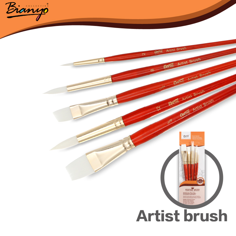 Bianyo 5pcs Nylon Hair Acrylic Paint Brush Set Short Wooden Handle Artists Gouache Watercolor Paint Brushes for Art Supplies<br><br>Aliexpress
