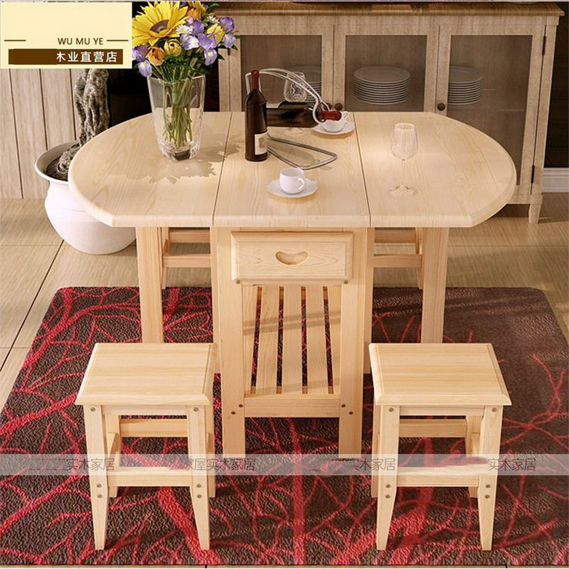 Semi Circle Foldable Coffee Dining Table With Two Chairs NO Drawers Pine So