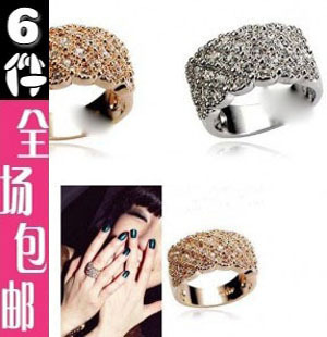 Rose gold full rhinestone ring fashion wide luxury full rhinestone ring shine finger ring female