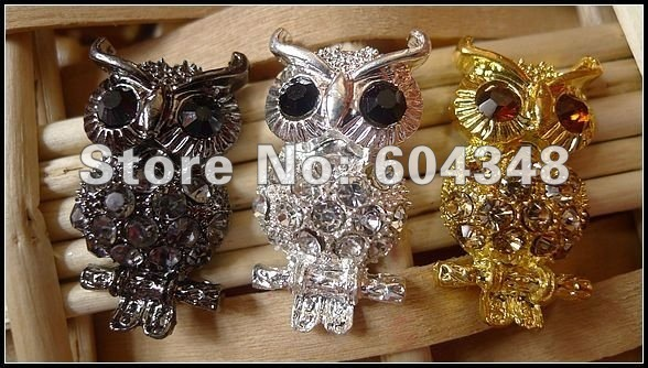 30PCS/LOT Mixed Color Metal Animal Owl With Pave Crystal Rhinestone Connector /Pendant Fit Bracelets / Necklace Jewelry Findings
