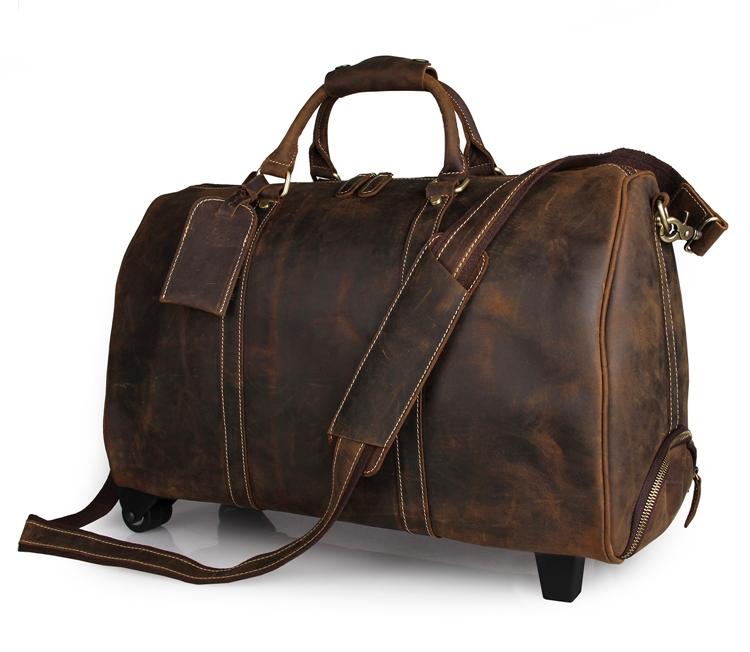 Freeship Handmade Crazy Horse Leather Unique Tote Luggage