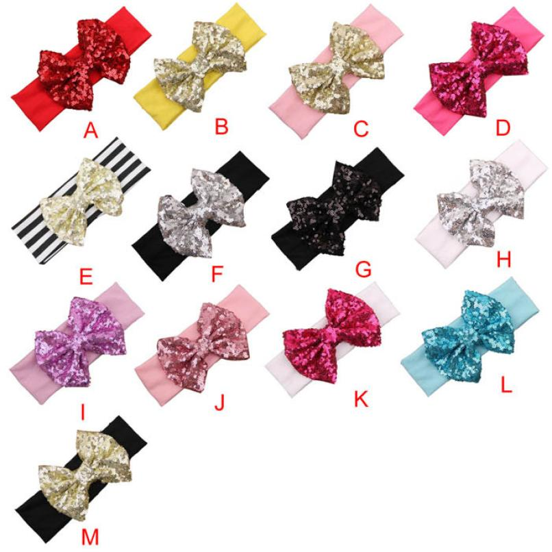 2015 Fashion Elastic Children Headband Cute Sequins Bow Baby Girl Hair Accessories