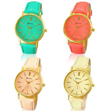 2015 Brand New Women's Fashion Geneva Roman Numeral Faux Leather Quartz Analog Wrist Watch Women Casual Watches