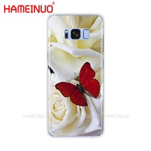HAMEINUO فراشة على الأبيض الورود زهرة غطاء إطار هاتف محمول الخليوي لسامسونج غالاكسي S9 S7 حافة زائد S8 S6 S5 S4 S3 مصغرة(China)