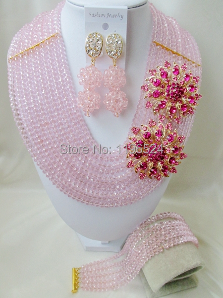 Luxury Baby Pink  Crystal Necklaces Bracelet Earrings African Nigerian Wedding Beads Jewelry Set  A-7813<br><br>Aliexpress