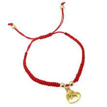 חם מזל זהב צלב לב צמיד לנשים ילדי אדום מחרוזת מתכוונן בעבודת יד צמיד DIY תכשיטים(China)
