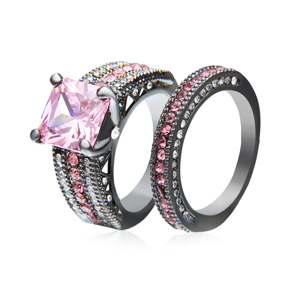 RN2995 Turkish Engagement Wedding Couple Rings with Pink CZ Gray Rings 2016