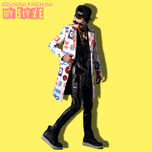 US male coats long jacket white print color Trench dancer singer dress performance show nightclub clothing  Outdoors Slim  wear(China (Mainland))