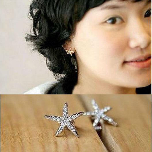 New Rhinestone Star Stud Earrings For Women Promotion Orecchini Donna Brinco Pendientes Earings C1R13C(China (Mainland))