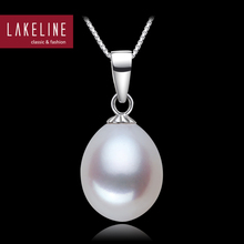 Single Pearl Pendant Real Freshwater Natural Pearl Pendant Ivory White Tear Drop Shape Jewelry Classic Platinum Plated Necklace(China (Mainland))