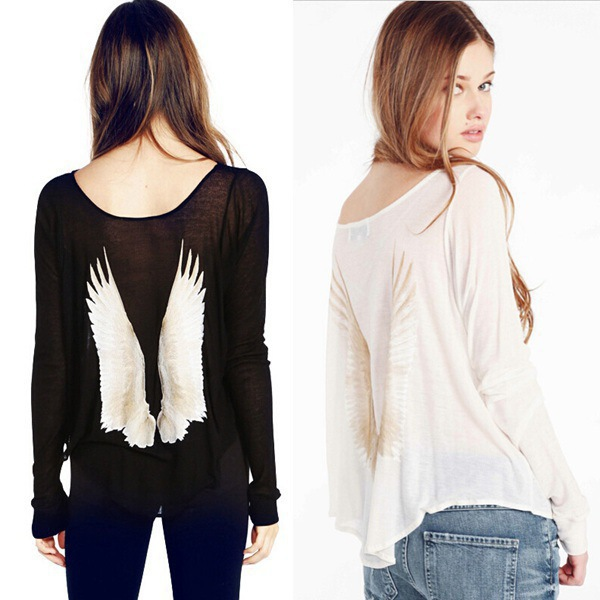 2015 Summer. Printed wings women blouses.Blusas big yards.Round collar bat sleeve easy leisure tops. - Leisure fashion Online Store store
