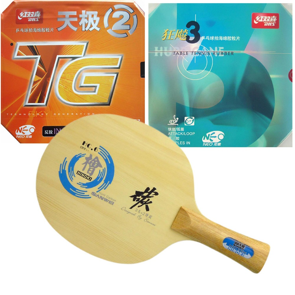Sanwei HC.6 Table Tennis Blade With DHS NEO Hurricane 3 / NEO TG 2 Rubbers With Sponge for PingPong Racket(China (Mainland))
