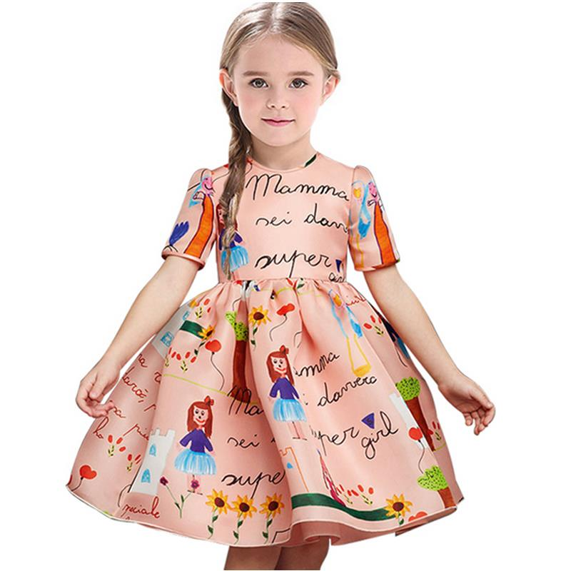 2016 European new girls dress jacquard graffiti Boy Dress girls dresses summer 2016