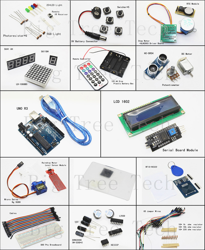arduino UNO R3 KIT Upgraded Version For-Starter Kit RFID Learn Suite Stepper Motor+Lcd+Breadboard Uno - BIG TREE TECH Store store