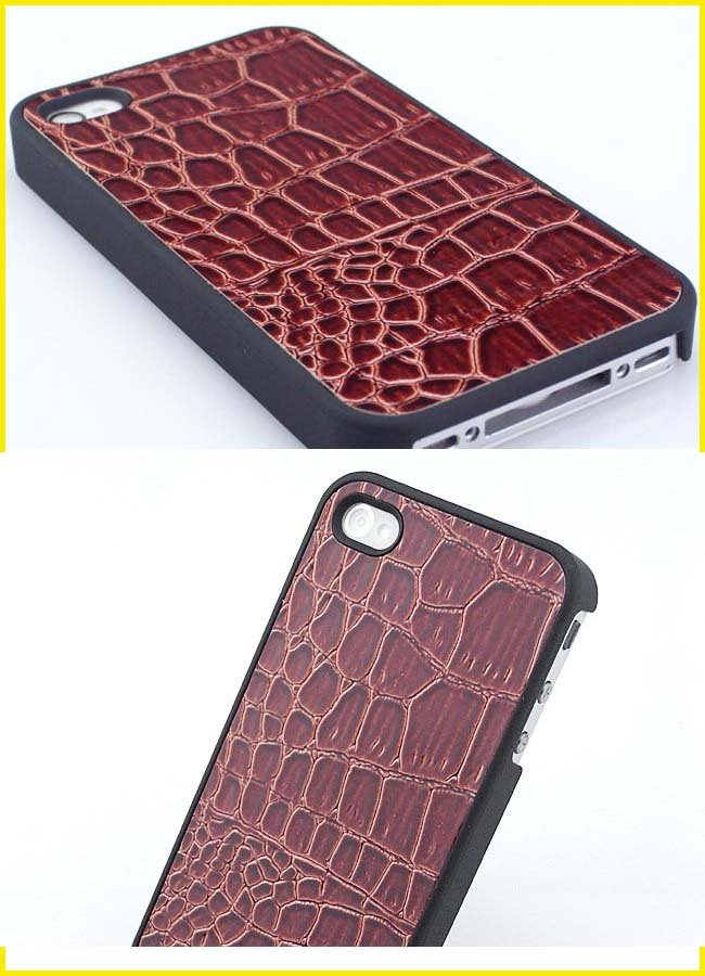 Chic Alligator Skin PU Faux Leather Case for iPhone 4 4G 30pcs/lot Free shipping(China (Mainland))