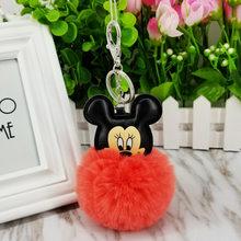 12 cores Fofo Bola de Pêlo de Coelho Mickey Mouse Em Forma de Chaveiro Bonito Creme Preto Pompom Coelho Artificial Mulheres Saco Carro anel chave(China)