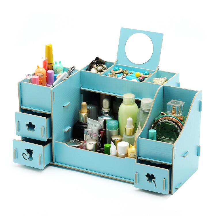 diy wood cosmetic organizer 4 drawers makeup case storage. Black Bedroom Furniture Sets. Home Design Ideas