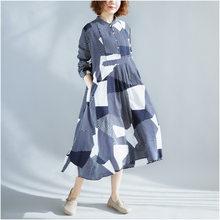 Новинка 2019, женские весенние свободные платья в клетку с длинным рукавом(China)