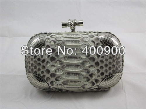 Knot Clutches Genuine Python Snakeskin Natural 8651S Shield Metal Clutch Free Shipping Wholesale Designer Fashion Accessories(China (Mainland))