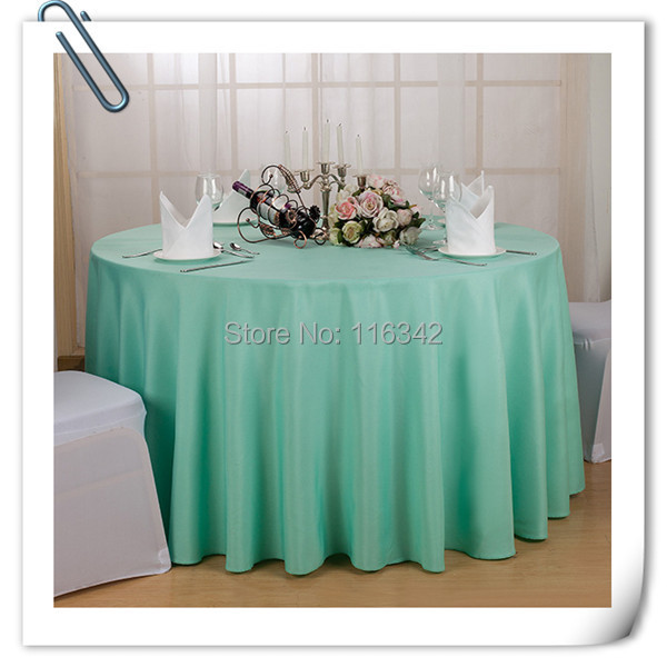 """Big Discount !!!! 120"""" Round Polyester 10pcs Mint Green Table Cloth For Wedding &Party &Resturant Decoration FREE SHIPPING(China (Mainland))"""